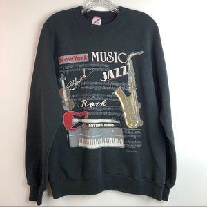 Vtg 1988 Black Crew Neck Music Graphic Sweatshirt